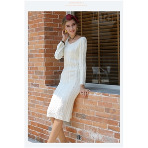Solid color cable flower neckline slim long knitted dress bottoming sweater skirt