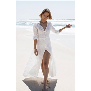 White V-neck sleeved button-down dress beach skirt