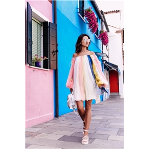Rainbow Sleeve Long Sleeve Dress Skirt