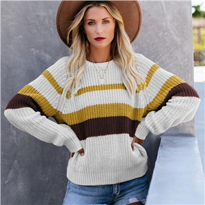 Casual loose stitching sweater tops bottoming shirt round neck contrast color long sleeve sweater