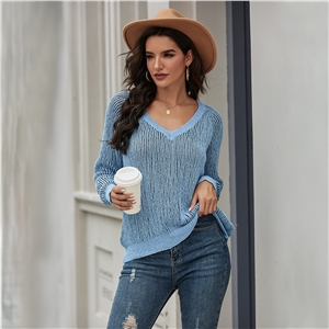 Solid color loose type pullover sweater sweater