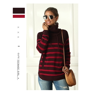 Autumn and winter high-neck women's striped sweater long-sleeved sweater