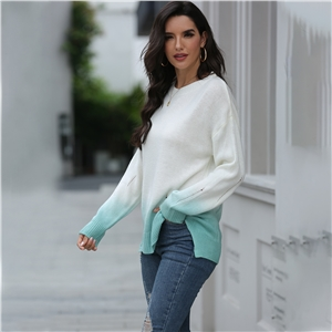 Fall/winter round neck long-sleeved top ripped gradient sweater