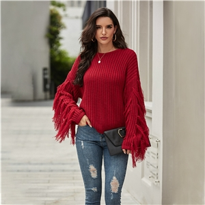 Round Neck Long Sleeve Fringed Loose Women's Knit Sweater Top