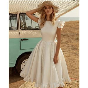 White short-sleeved waist dress puff skirt