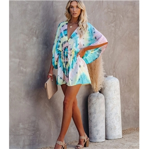 Color sexy V-neck mid-sleeve printed lace-up dress