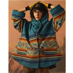 2020 Fall/Winter Long Sleeve Hooded Jacket Blue Printed Woolen Coat