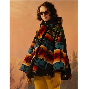 2020 autumn and winter long-sleeved hooded coat printed woolen coat
