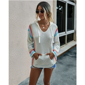 Fashion color matching hooded long-sleeved pullover loose women's sweater