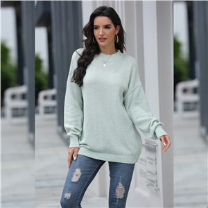 Fall/winter lazy round neck loose long-sleeved pullover sweater