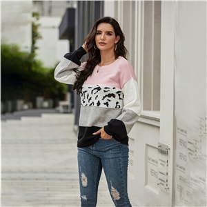 2020 winter tops color matching long-sleeved leopard knit loose sweater women