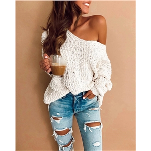 2020 fall/winter V-neck pullover white knit sweater