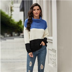 Color block long sleeve turtleneck sweater