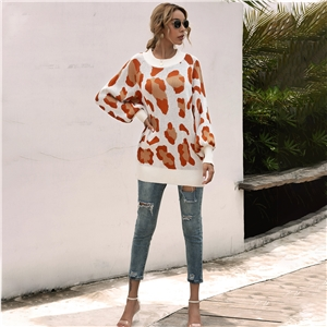 Leopard print crew neck pullover knitted sweater