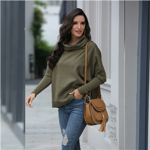 Autumn and winter solid color high-neck split loose sweater