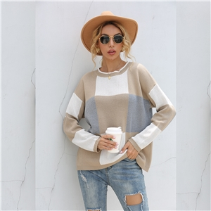 Color block check round neck pullover sweater