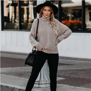 Winter solid color turtleneck warm loose sweater
