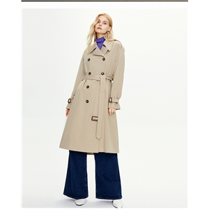 British double-breasted over-the-knee woolen coat