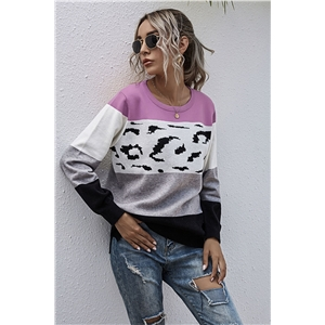 Leopard stitching striped contrast sweater