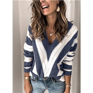 V-neck hollow stripe stitching pullover sweater