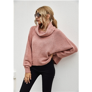 Solid color loose bat sleeve pullover turtleneck women's sweater