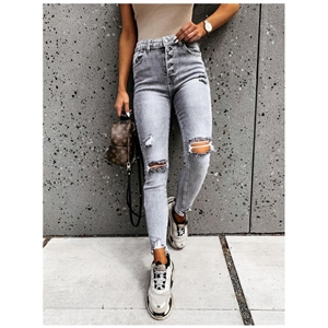 Gray ripped slim-fit small-foot high-rise women's jeans