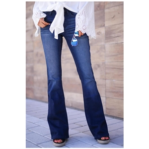 Blue mid-rise micro-flare women's jeans