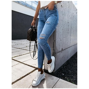 Blue slim-fit small-foot pencil trousers high-rise ripped women's jeans