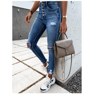 Blue small feet pencil hole high waist women's jeans