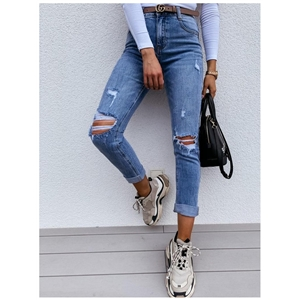 Blue small feet slim slimming ripped mid-rise women's jeans
