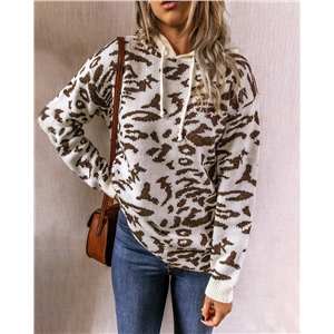 Leopard print hooded sweater drawstring sweater