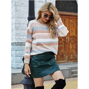 Color striped stitching sweater college style women's clothing