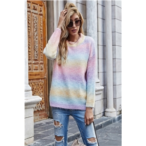 Tie-dye fashion color gradient pullover sweater