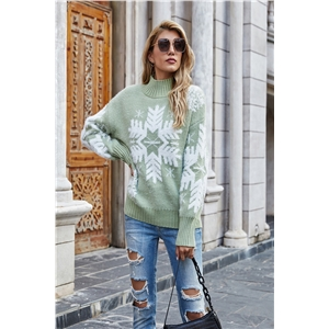 Casual snowflake pattern jacquard high neck pullover sweater
