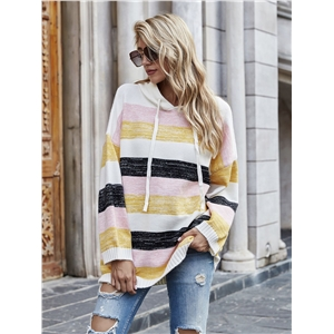 Drawstring hood gradient stripe stitched knitted sweatshirt