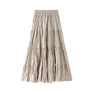 The elastic waist is thinner in the long gold velvet pleated stitching big swing