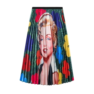 Mary Monroe head print temperament large skirt high waist umbrella skirt pleated skirt