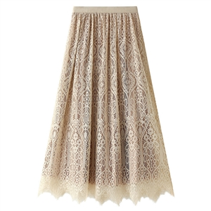 Mid-length double-sided velvet pleated skirt lace skirt