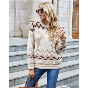 Round neck color fast stitching deer pattern Christmas sweater