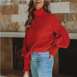 Solid color turtleneck long-sleeved knitted top women's sweater