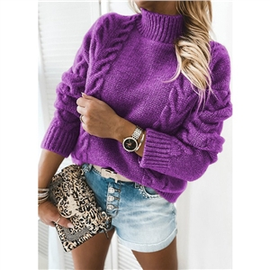 Pure color high neck long sleeve knitted casual sweater