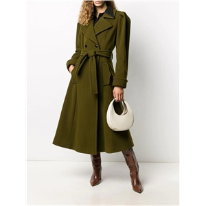 Lapel puff sleeve lace up slim-fit commuter temperament long army green woolen coat