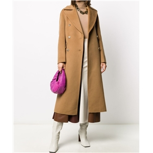 Simple POLO large lapel double-breasted casual long solid color coat