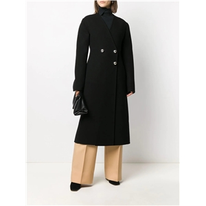 Simple temperament slim-fit collarless long black coat with V-neck and simple back slit