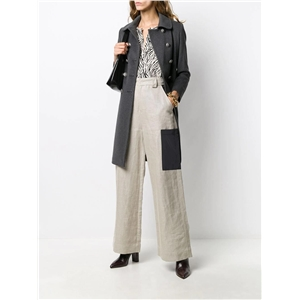 Simple double-breasted slim back split mid-length lapel fashion solid color coat