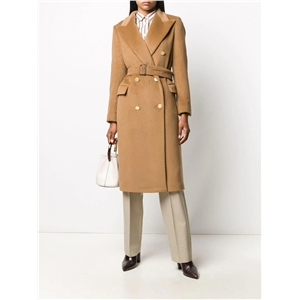 Fashionable double-breasted temperament lace up slim fit long OL commuter coat