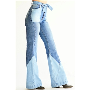 Blue retro high waist two-color stitching belt denim flared pants