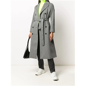 Double-breasted lace-up slim-fit OL commuter casual skirt long woolen coat