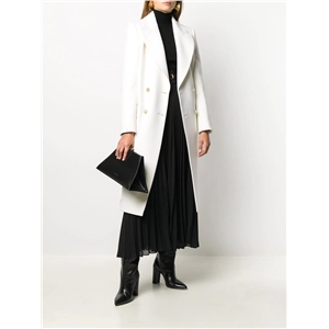 Double-breasted straight style casual pure white simple ladies coat
