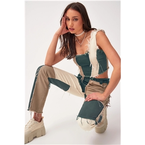 Variegated stitching high waist and tight hips straight-leg denim trousers